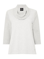 Tigi Cowl Neck Striped Front Jumper Grey