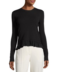 Nina Ricci Ruffle Hem Asymmetric Open Back Sweater Black