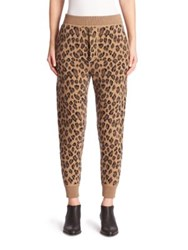 Alexander Wang Leopard Print Wool And Cashmere Sweatpants