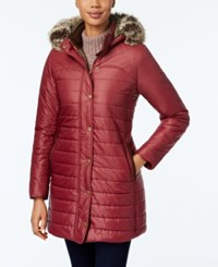 Barbour Rossendale Faux Fur Hooded Quilted Puffer Coat Burgundy