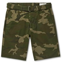 Officine Generale Julian Slim Fit Belted Camouflage Print Cotton And Nylon Blend Ripstop Shorts Green