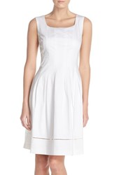 Women's Ellen Tracy Square Neck Sateen Fit And Flare Dress White