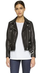 Acne Studios Mock Leather Moto Jacket Black
