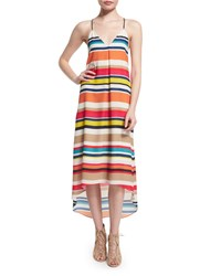 Alice Olivia Cortes Striped Racerback Midi Dress Multicolor Women's Size L Multi Colors
