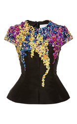 Oscar De La Renta Short Sleeve Top With Embellishment Black