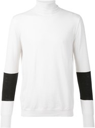 F.S.Z Contrast Sleeve Turtleneck Jumper White