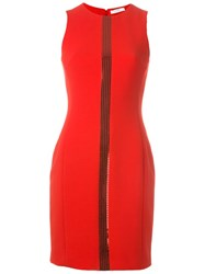 Versace Collection Sequin Central Stripe Dress Red