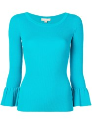 Michael Kors Knit Flared Sleeve Top Blue