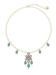 Freida Rothman Turquoise And 14K Yellow Gold Vermeil Love Knot Drops Necklace