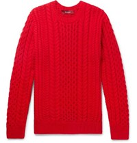 Sies Marjan Lou Oversized Cable Knit Cotton Sweater Red