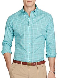 Ralph Lauren Purple Label Plaid Poplin Shirt Teal Orange