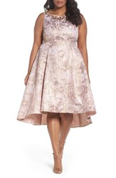Adrianna Papell Plus Size Women's Embellished Metallic Jacquard Party Dress Peach Gold