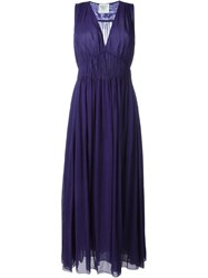 Forte Forte 'My Dress' Pleated Semi Sheer Dress Pink And Purple