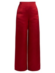 The Row Strom Washed Duchess Satin Trousers Red