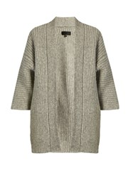 Nili Lotan Naomi Ribbed Knit Alpaca Blend Cardigan Light Grey