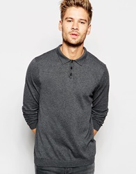 Asos Knitted Polo Neck Jumper In Cotton Charcoalmarl