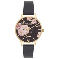Olivia Burton Ob16fs80 Women's Flower Show Leather Strap Watch Black Gold