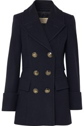 Burberry Double Breasted Wool Felt Coat Navy