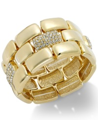 Alfani Polished Pave Stretch Bracelet Gold