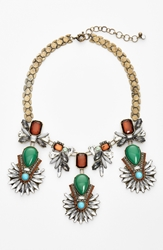 Robert Rose Multi Stone Necklace Green Brass Ox
