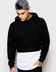 Asos Cropped Hoodie With Mock T Shirt Hem Black