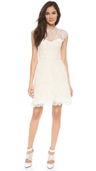 Monique Lhuillier Alessia Lace Dress With Back Keyhole Ivory