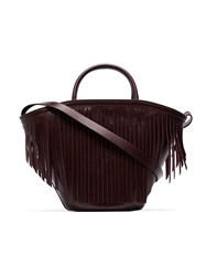 Trademark Burgundy Leather Fringed Tote Bag Red