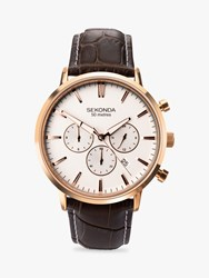 Sekonda 1668.27 'S Chronograph Date Leather Strap Watch Brown White