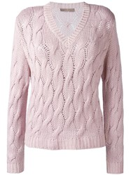 Cruciani Cable Knit Jumper Pink Purple