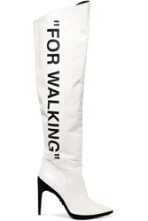 Off White For Walking Printed Leather Over The Knee Boots It37 White