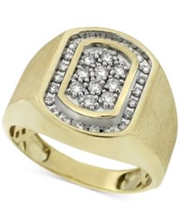 Macy's Men's Diamond Oval Cluster Ring 1 2 Ct. T.W. In 10K Gold White