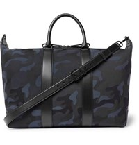 Mulberry Leather Trimmed Camouflage Print Canvas Holdall Navy