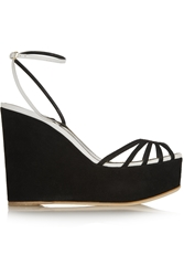 Sergio Rossi Leather And Suede Wedge Sandals