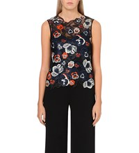 Karen Millen Floral Embroidered Sleeveless Shell Top Navy