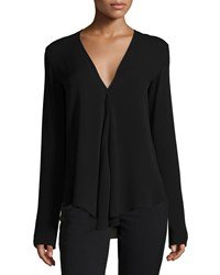 Theory Meniph Long Sleeve Silk Top Men's Size Medium Black