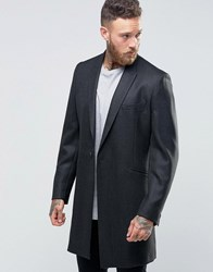 Hart Hollywood By Nick Smart Overcoat In Flannel Charcoal Grey