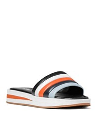 Michael Michael Kors Conrad Leather And Patent Leather Slide Sandals Black Orange