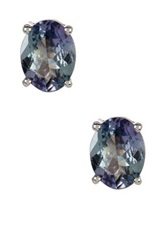 Sterling Silver Tanzanite Stud Earrings Metallic