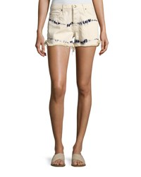 The Great Cut Off Slouchy Tie Dye Denim Shorts White