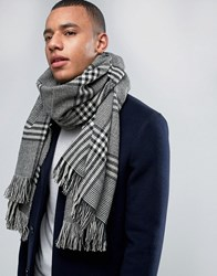 Jack And Jones Scarf In Woven Check Black Green