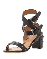 Alexa Wagner Nell Studded Leather Ankle Wrap Sandal Nero