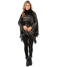 Steve Madden Ombre Plaid Boucle Turtleneck Poncho Neutral Women's Sweater