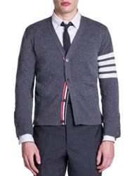 Thom Browne Bar Striped Sleeve Cashmere Cardigan Grey