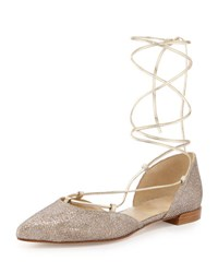 Stuart Weitzman Gilligan Lace Up D'orsay Flat Silver Nocturne