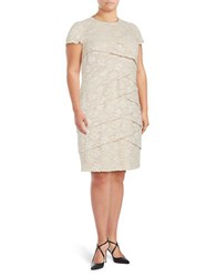 London Times Plus Overlapping Lace Sheath Dress Champagne