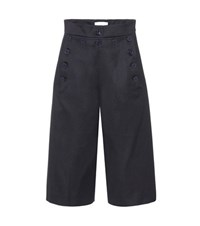 Chloe Wool And Cotton Culottes Blue