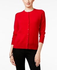 Charter Club Cashmere Crew Neck Cardigan Only At Macy's New Red Amore