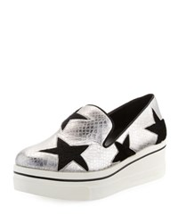 Stella Mccartney Binx Snake Embossed Star Loafer Silver