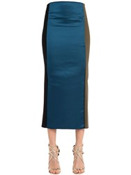 Michael Sontag Paneled Silk Satin Pencil Skirt