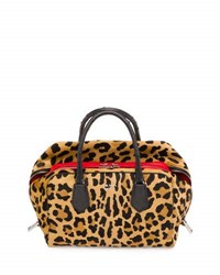 Prada Calf Hair And Ostrich Medium Inside Bag Leopard Red Black Miele Fuoco Nero
